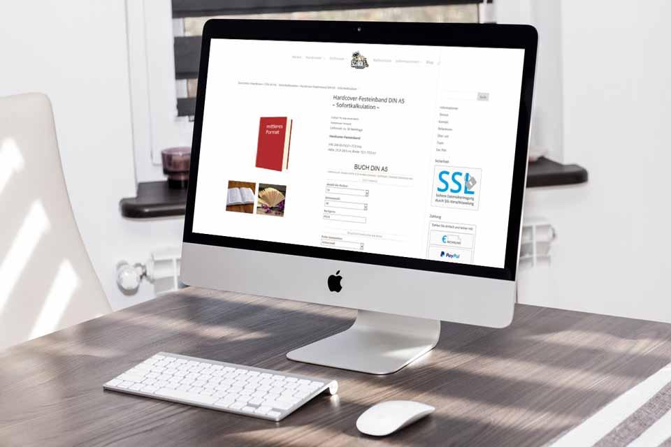 Onlineshop mit der Möglichkeit Bücher komplett zu konfigurieren. Basis ist das Shopsystem WooCommerce